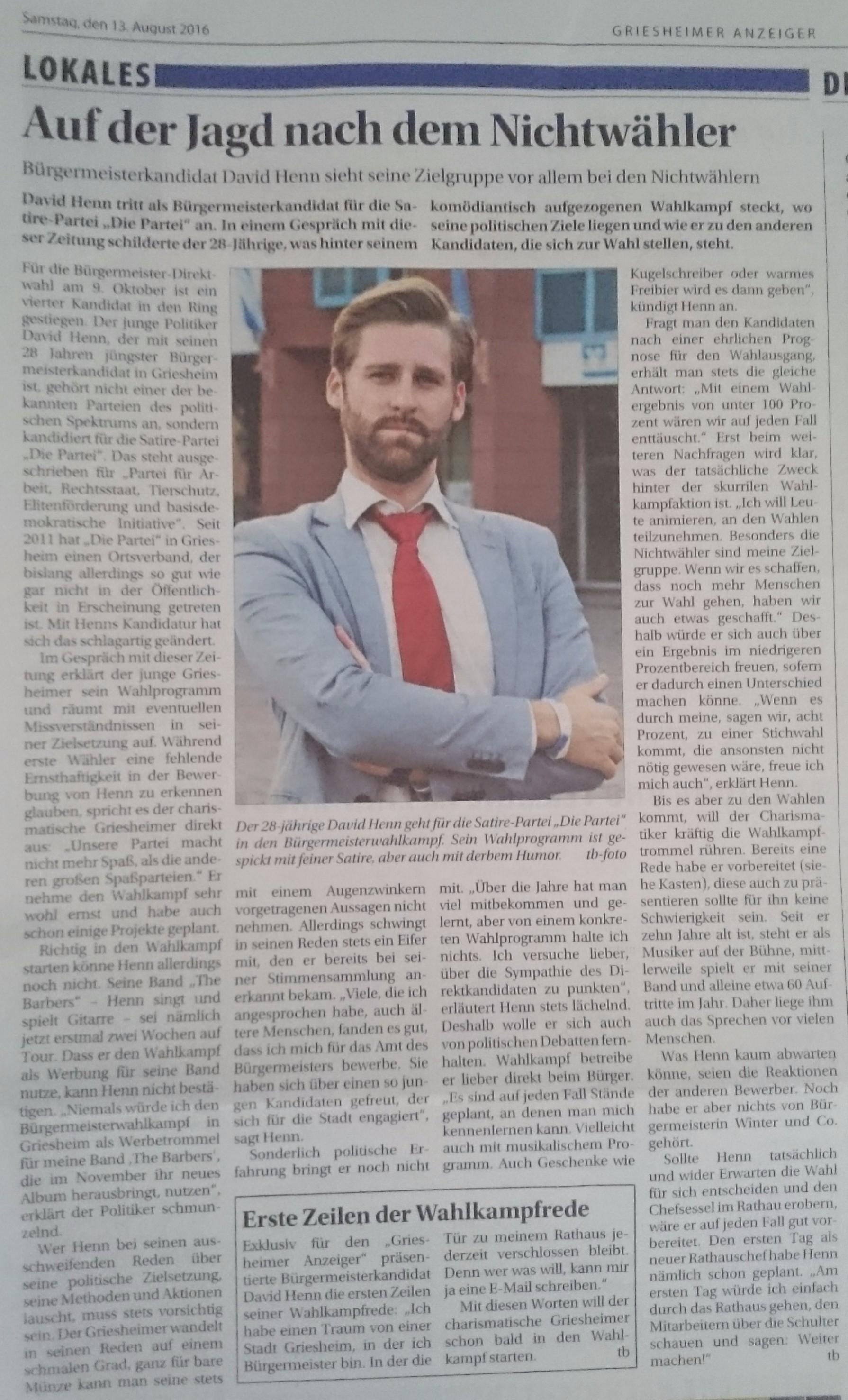 """David Henn im """"Griesheimer Anzeiger"""" vom 13.08.2016"""