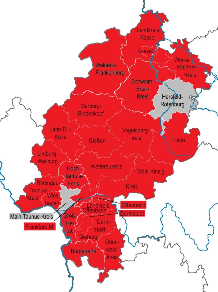 Eine Karte aller Kreisverbände in Hessen
